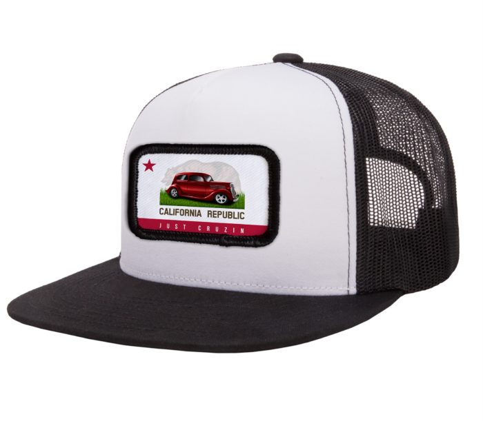 bc05c947 Just Cruzin' California Republic Red Car Flat Bill Trucker White/Black